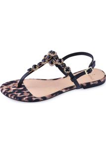 Sandália La Femme Leopardo Preta 40