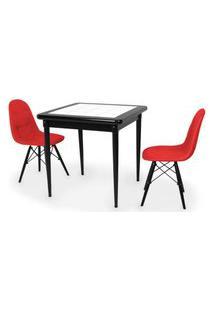 Conjunto Mesa De Jantar Em Madeira Preto Prime Com Azulejo + 2 Cadeiras Botonê - Vermelho