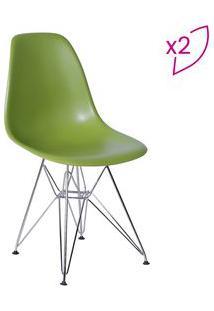 Or Design Jogo De Cadeiras Eames Dkr Verde & Prateado 2Pã§S