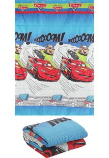 Edredom Solteiro Santista Disney Light Cars Comics 150X220Cm Azul