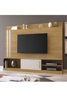 Estante Home Para Tv Até 65 Polegadas 1 Porta 1 Prateleira 3 Nichos Mavaular Damasco/Off White