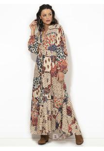 Vestido Longo Étnico Tropical Bege