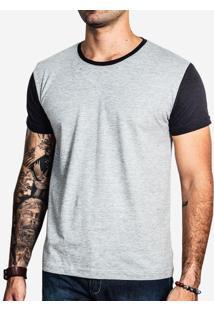 Camiseta Mescla Manga Preta