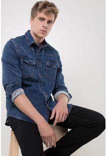 Camisa Em Jeans Moletom Com Bolsos