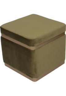 Puff Banqueta Decorativo Square Gold Veludo Verde