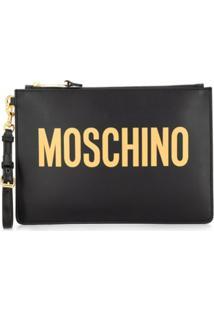 Moschino Clutch Com Estampa De Logo - Preto