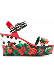 Dolce & Gabbana Sandália Anabela Floral - Branco