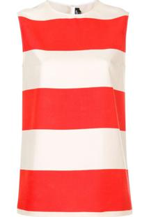 Calvin Klein 205W39Nyc Blusa Listrada De Seda - Vermelho