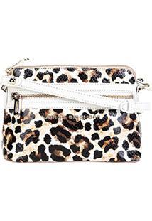 Bolsa Clutch Jorge Bischoff Transversal Leopardo Feminina - Feminino-Onça