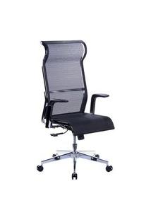 Cadeira De Escritório Husky Office 500, Preto, Encosto De Cabeça Fixo, Encosto Ajustável Com 3 Níveis, Base Em Aço Cromado - Htcd010