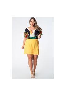 Shorts Almaria Plus Size Munny Liso Twill Rayon Amarelo