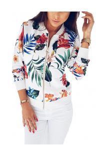 Jaqueta Bomber Floral Feminina - Branca