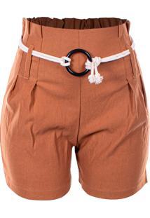 Shorts Outletdri Bengaline Casual Cós Alto Clochard Cordão Fivela Caramelo