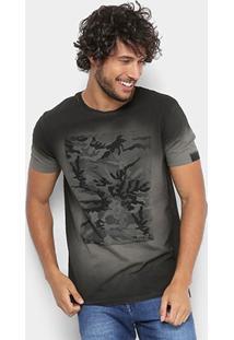 Camiseta Replay Manga Curta Camuflada Masculina - Masculino-Chumbo