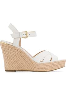 Michael Kors Collection Sandália Anabela Com Tiras Cruzadas - Branco