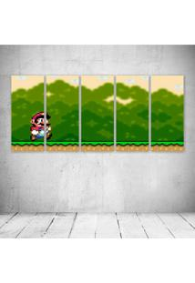 Quadro Decorativo - Mario World Retro - Composto De 5 Quadros - Multicolorido - Dafiti