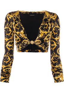 Versace Blusa Cropped Com Estampa Barroca - Preto