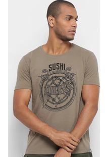 Camiseta Jab Sushi Masculina - Masculino-Marrom Claro