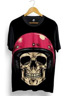 Camiseta Bsc Skull Pink Helmet Full Print - Masculino-Preto