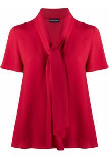 Emporio Armani Blusa Com Amarração Na Gola - Vermelho