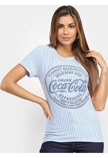 Camiseta Coca-Cola Listrada Logo Feminina - Feminino-Azul
