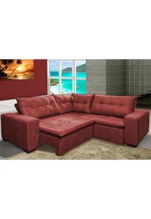 Sofa De Canto Retrátil E Reclinável Com Molas Cama Inbox Oklahoma 2,50M X 2,50M Suede Velusoft Vermelho
