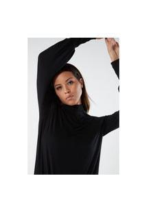 Blusa De Manga Comprida Em Cashmere E Modal Ultraleve - Preto M