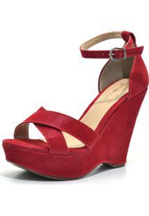 Sandália Flor Da Pele Anabela Vermelha
