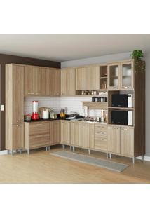 Cozinha Completa 16 Portas 5 Gavetas Sicília 5802 Argila - Multimóveis