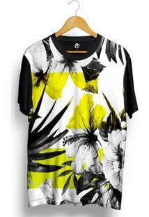 Camiseta Bsc Floral Full Print - Masculino-Preto
