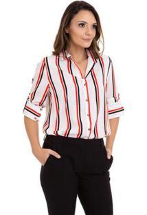 Camisa Kinara Crepe Manga Martingale Feminina - Feminino-Branco