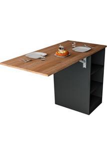 Mesa Bancada Gourmet Para Cozinha Enjoy Bac 3400 Castanho/Preto - Appu