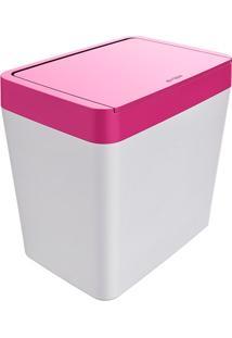 Lixeira Para Pia 5 Litros Smart - Branco/Rosa - Multistock