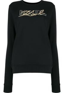 Karl Lagerfeld Moletom Double Logo - Preto