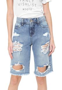 Bermuda Jeans Colcci Reta Destroyed Daniela Azul
