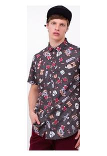 Camisa Em Tricoline Estampada