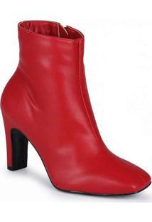 Ankle Boots Feminina Lara Bico Quadrado Vermelho