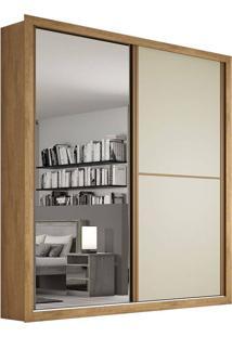 Guarda-Roupa Casal Flex Com Espelho 2 Portas E 4 Gavetas Madrid Plus-Móveis Europa - Amendoa / Off White / Amendoa