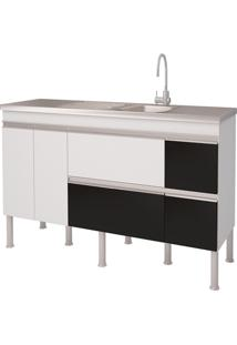 Balcao Cozinha Prisma Puxador Perfil 1,74 Metros Branco E Preto