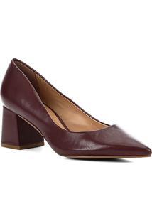 Scarpin Couro Shoestock Salto Bloco Médio - Feminino-Vinho