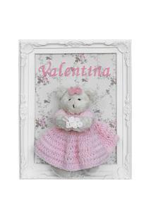 Quadro Maternidade Ursa Ursinha Crochê Rosa Enfeite Clássico