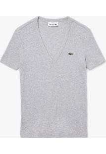 Camiseta Lacoste Slim Fit Feminina - Feminino-Cinza
