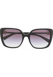 Bvlgari Óculos De Sol Quadrado - Preto