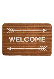 Capacho Carpet Welcome Com Flechas Marrom Único Love Decor