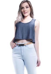 Blusa Jeans Curta Cor Azul P - Feminino-Azul