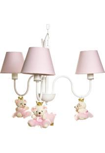 Lustre 3L Simples Com 3 Ursinhas Princesas Quarto Bebê Infantil Menina Potinho De Mel Rosa