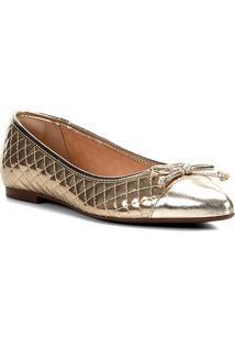 Sapatilha Shoestock Matelassê Bico Fino Laço Feminina - Feminino-Dourado