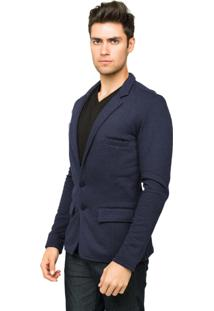Blazer Tony Menswear Moletom Slim Fit Azul Marinho