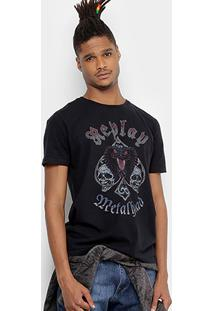 Camiseta Replay Estampada Masculina - Masculino-Preto