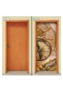 Adesivo Decorativo De Porta - Bússola - 1275Cnpt